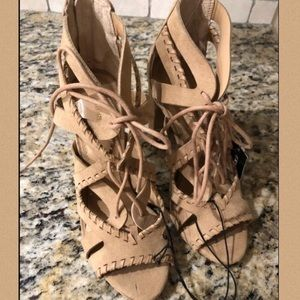 NEW | Express | Tan Suede Stack Shoe